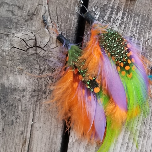 handmade Jewelry - Boho Wild Colorful Feather Earrings